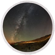 Galena Creek Bridge Under Summer Sky Filled With Milky Way And Mt. Rose In The Background Round Beach Towel