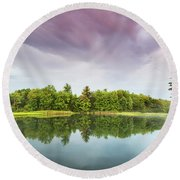 Gale's Pond Early In The Morning Round Beach Towel