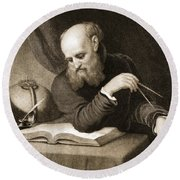 Galileo With Compass And Diagrams Round Beach Towel