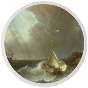 Galleon In Stormy Seas   Round Beach Towel by Jan Claes Rietschoof
