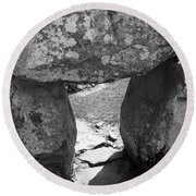Gallery Entrance At Creevykeel Court Cairn Ireland Round Beach Towel