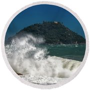 Gallinara Island Seastorm - Mareggiata All'isola Gallinara Round Beach Towel