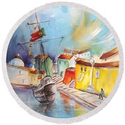 Gallion In Vila Do Conde Round Beach Towel