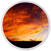 Gallo Peak Fiery Skies  Round Beach Towel
