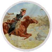Galloping Horseman Round Beach Towel