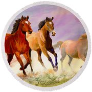 Galloping Horses Round Beach Towel