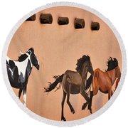 Galloping Horses Mural - Taos Round Beach Towel