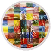 Galloping In The Night Round Beach Towel