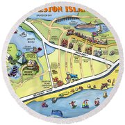Galveston Texas Cartoon Map Round Beach Towel