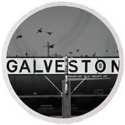 Galveston Train Yard Round Beach Towel