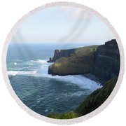 Galway Bay And Towering Cliffs Of Moher In Ireland Round Beach Towel