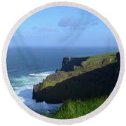 Galway Bay Churning Below The Cliffs Of Moher Round Beach Towel