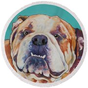 Game Face   Round Beach Towel