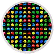 Game Monsters Seamless Generated Pattern Round Beach Towel