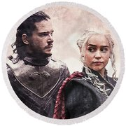 Game Of Thrones. Jon Snow And Daenerys Targaryen Round Beach Towel