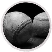 Game Used Baseballs In Black And White Round Beach Towel