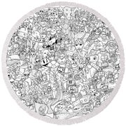 Gaming Themed Coloring Poster Round Beach Towel