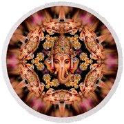 Ganesh Sphere Mandala Round Beach Towel