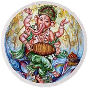Ganesha Dancing And Playing Mridang Round Beach Towel