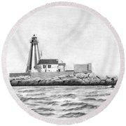 Gannet Rock Lighthouse Round Beach Towel