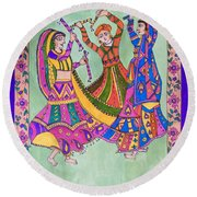 Garba Dance Round Beach Towel