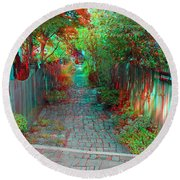 Garden Alley - Use Red-cyan 3d Glasses Round Beach Towel