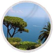 Garden And Bay Of Naples Round Beach Towel