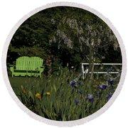 Garden Bench Green Round Beach Towel
