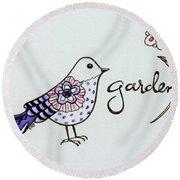 Garden Bird Round Beach Towel