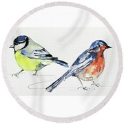 Garden Birds Round Beach Towel