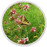 Garden Butterfly Round Beach Towel