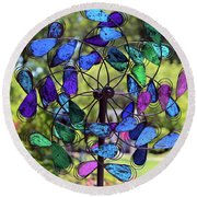 Garden Colored Fan Round Beach Towel