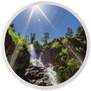 Garden Creek Falls Round Beach Towel