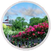 Garden Fence And Roses Round Beach Towel