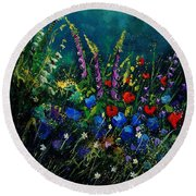 Garden Flowers 56 Round Beach Towel