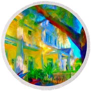 Garden House Round Beach Towel