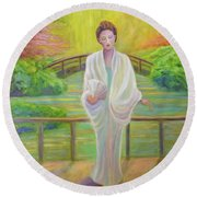 Garden Meditation Round Beach Towel