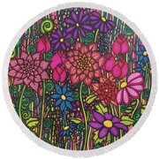 Garden Of Happiness  Round Beach Towel