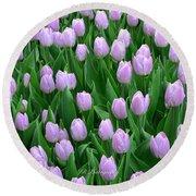 Garden Of Pink Tulips Round Beach Towel
