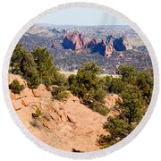 Garden Of The Gods And Springs West Side Round Beach Towel