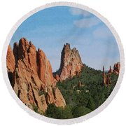 Garden Of The Gods Colorado De  Round Beach Towel