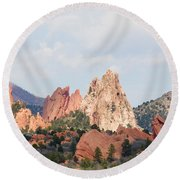 Garden Of The Gods From A Distance Round Beach Towel