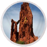 Garden Of The Gods Tower Formation Round Beach Towel