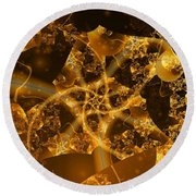 Garden Of The Golden Orbs Round Beach Towel