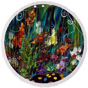Garden Of Wishes Round Beach Towel