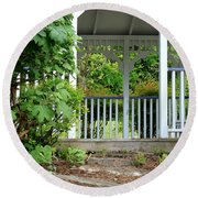 Garden Path And Gazebo Round Beach Towel