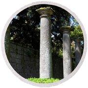 Garden Pillars Round Beach Towel