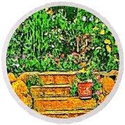 Garden Sketches 1 Round Beach Towel