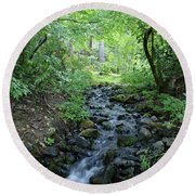 Garden Springs Creek In Spokane Round Beach Towel