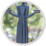Garden Statue Dreams Round Beach Towel